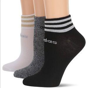 🆕 adidas Metallic 3 Stripe Low Cut Socks 3 Pack